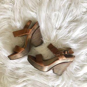 Frye Leather Alessandra Belt Sling Camel Size 10